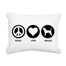 Peace Love Beagle Rectangular Canvas Pillow