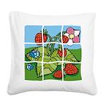 Strawberry Puzzle Square Canvas Pillow
