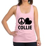 FIN-peace-love-collie.png Racerback Tank Top