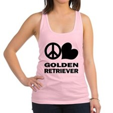 FIN-peace-love-golden-retriever.png Racerback Tank