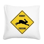 crossing-sign-rabbit.png Square Canvas Pillow