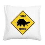 crossing-sign-turtle.png Square Canvas Pillow