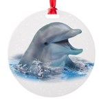 Happy Dolphin Round Ornament