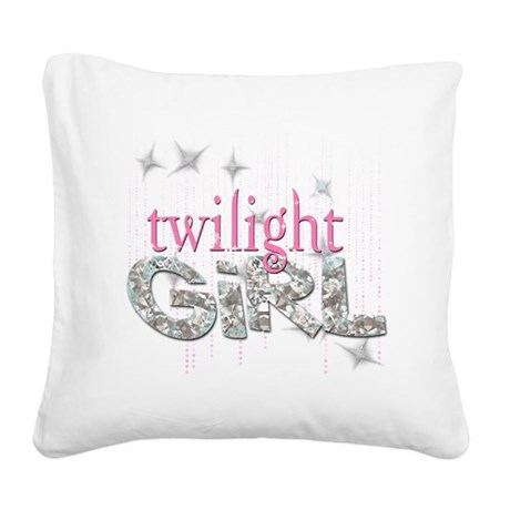 Twilight Girl Pink Square Canvas Pillow