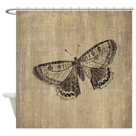 vintage butterfly shower curtain by esangha