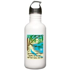 Blessed are the pure in heart Sports Water Bottle