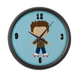 Roller Skating Kids Large Wall Clock