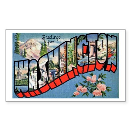 Washington State Greetings Rectangle Sticker