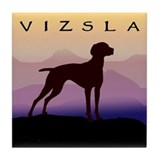 vizsla dog w/purple mountains Tile Coaster