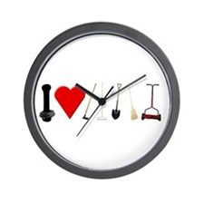 I Love Garden Tools Wall Clock
