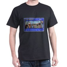 Wyoming Greetings (Front) Black T-Shirt