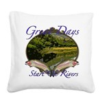 trout fishing Square Canvas Pillow