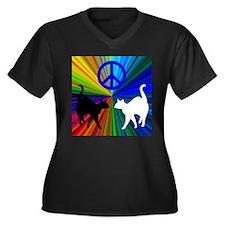 Peace Cats Women's Plus Size V-Neck Dark T-Shirt