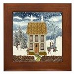 Winter Cottage Framed Tile