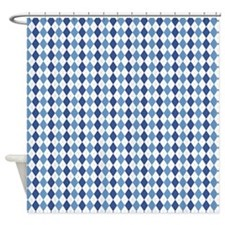 Blue Arglye Shower Curtain