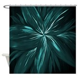 Teal Floral Abstract Shower Curtain