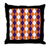 Orange and Purple Argyle Throw Pillow