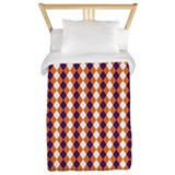 Orange and Purple Argyle Twin Duvet