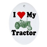 I Love My Tractor Oval Ornament