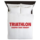 Triathlon Cheaper Than Therapy Queen Duvet
