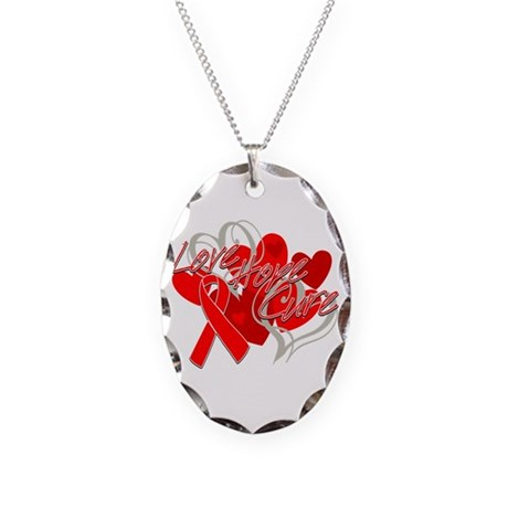 AIDS Love Hope Cure Necklace Oval Charm