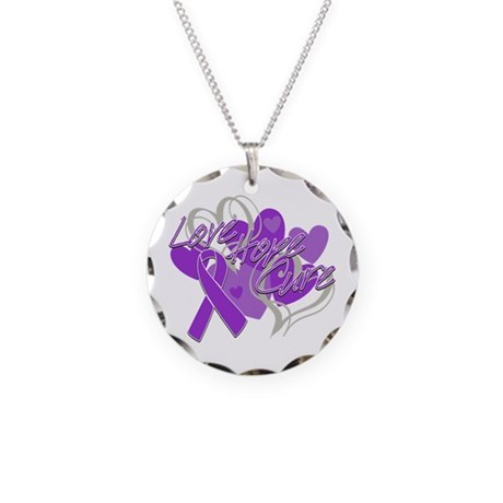 Alzheimer's Disease Love Hope Cure Necklace Circle