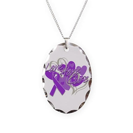 Alzheimer's Disease Love Hope Cure Necklace Oval C