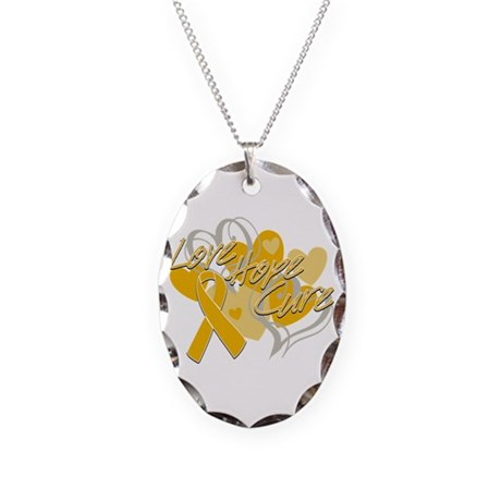 Appendix Cancer Love Hope Cure Necklace Oval Charm