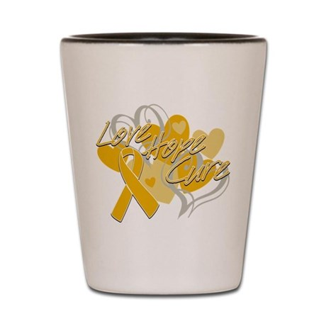 Appendix Cancer Love Hope Cure Shot Glass