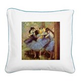 Degas Blue Dancers Square Canvas Pillow