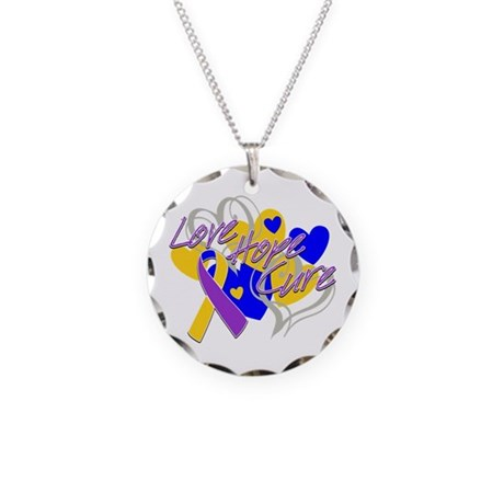 Bladder Cancer Love Hope Cure Necklace Circle Char