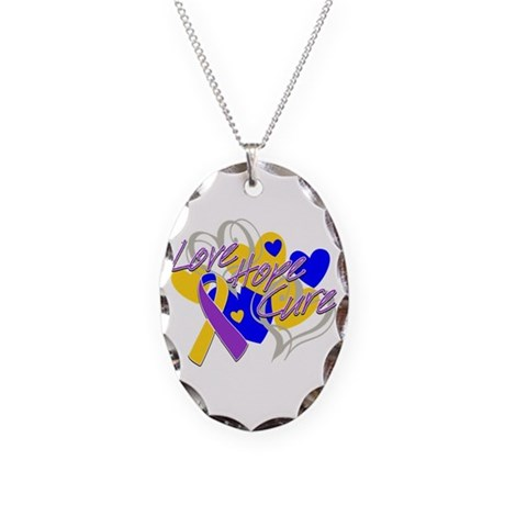 Bladder Cancer Love Hope Cure Necklace Oval Charm