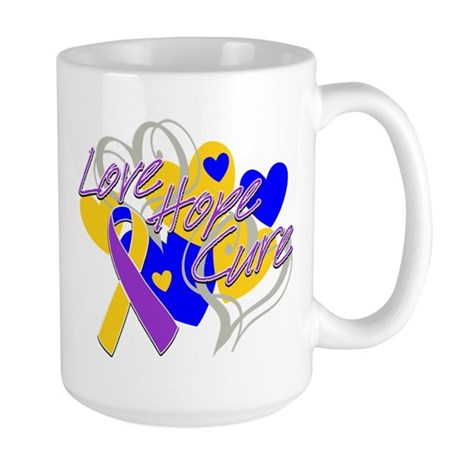 Bladder Cancer Love Hope Cure Large Mug