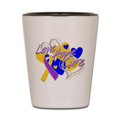 Bladder Cancer Love Hope Cure Shot Glass