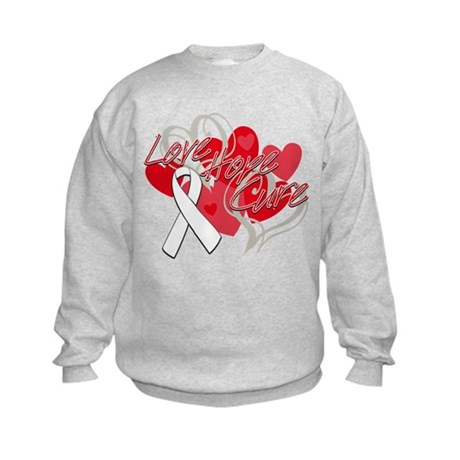 Bone Cancer Love Hope Cure Kids Sweatshirt