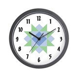 Quilter's Star Block Wall Clock