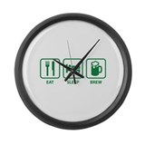 Eat Sleep Brew Large Wall Clock