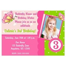 Butterfly Kiss Birthday Invitation 5x7 Flat Cards