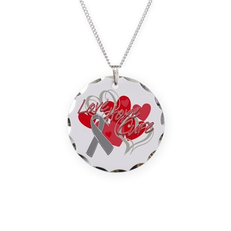 Brain Cancer Love Hope Cure Necklace Circle Charm