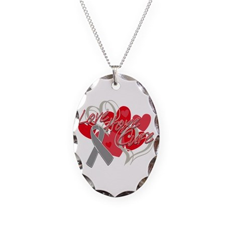 Brain Cancer Love Hope Cure Necklace Oval Charm