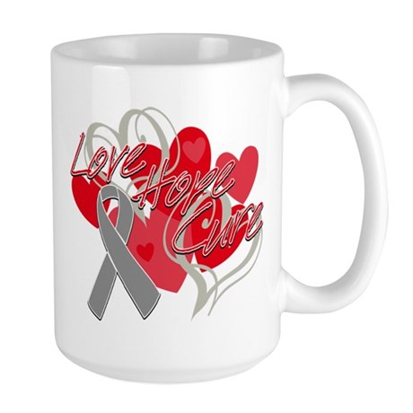 Brain Cancer Love Hope Cure Large Mug