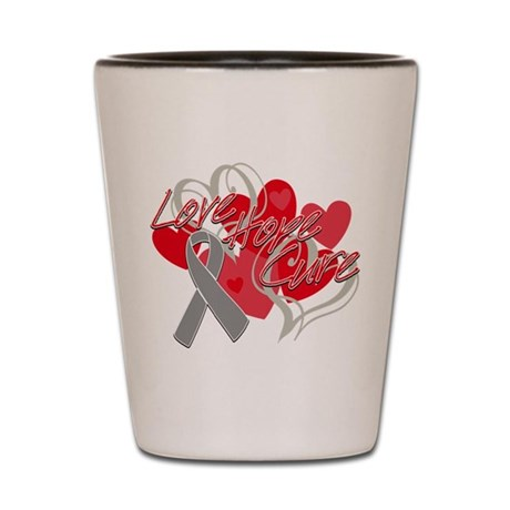 Brain Cancer Love Hope Cure Shot Glass