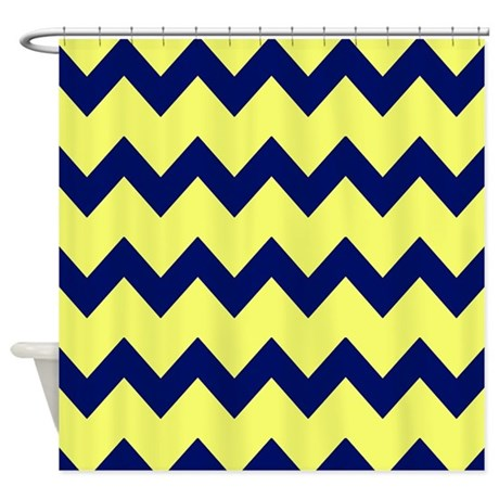 Yellow Navy Blue Chevrons Shower Curtain By