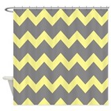 Yellow Gray Chevrons Shower Curtain