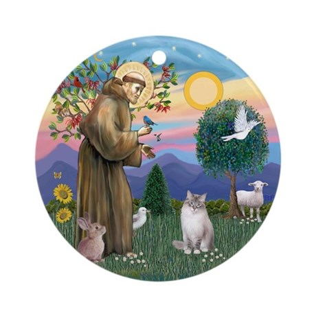 St Francis - Ragdoll Cat Ornament (Round)