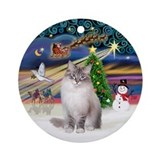 XmasMagic-Ragdoll cat (lynx CPt) Ornament (Round)