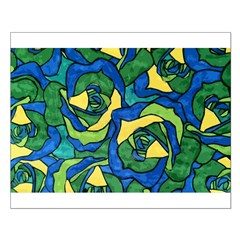 Blue and Green Roses Small Poster