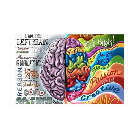 Left Brain Right Brain Cartoon Poster 35x21 Wall D