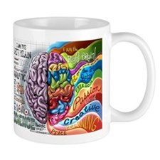 Left Brain Right Brain Cartoon Poster Small Mug