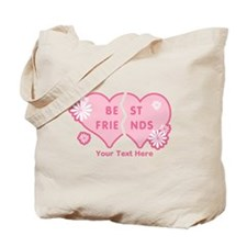 CUSTOM TEXT Best Friends Split Heart Tote Bag